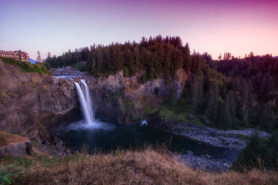 Snoqualmie Falls Sunset Wide Angle Slow Shutter Summer