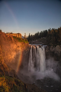 Snoqualmie Falls Sunset Rainbow Portrait View
