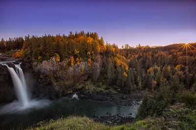Snoqualmie Falls Autumn Sunset Sunstar Wide Angle Slow Shutter