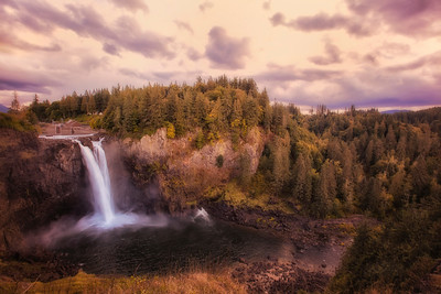 Snoqualmie Falls Golden Hour October Sunset