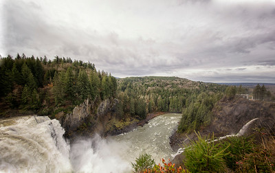 Snoqualmie Falls High Water Wide Angle from near Salish Lodge