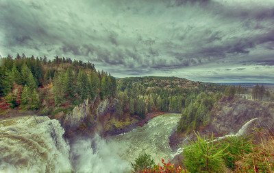 Snoqualmie Falls HDR High Water Wide Angle from near Salish Lodge