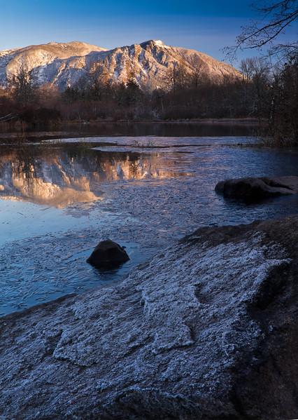 Winter at Borst Lake, Mount Si on the horizon