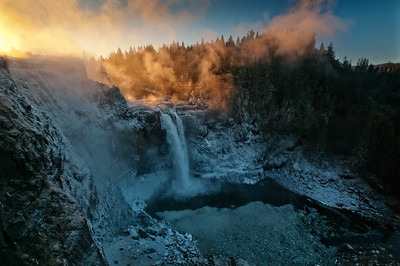 Winter sunrise at Snoqualmie Falls