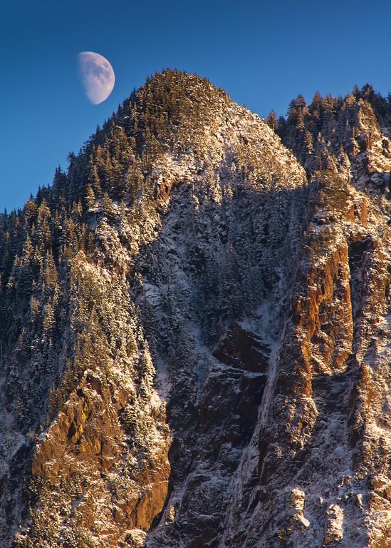 Moon over Mount Si