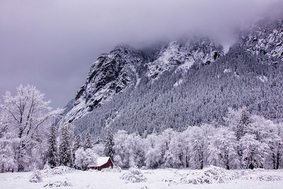 Red Barn Snowy Day Closeup Mt Si