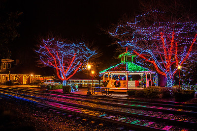 Downtown Snoqualmie WA Gazebo and Depot Christmastime