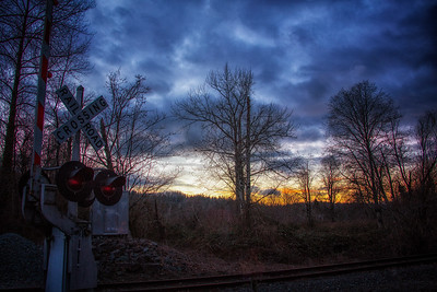 RR Crossing Sunset