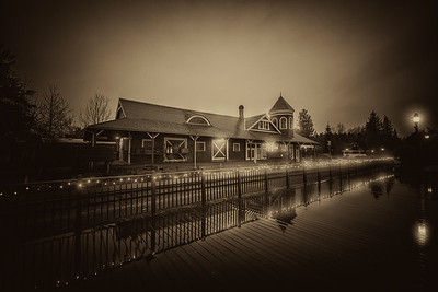 Snoqualmie Train Depot Early Morning Light in Black and White