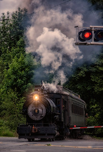 Billowing smoke from Steam Engine Santa Cruz Portland Cement 2 crossing North Bend Way 5-23-15