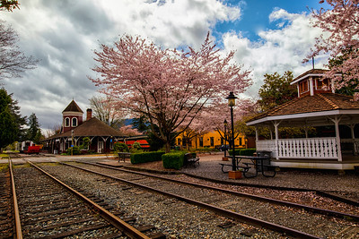 Spring at the Snoqualmie Depot and Gazebo