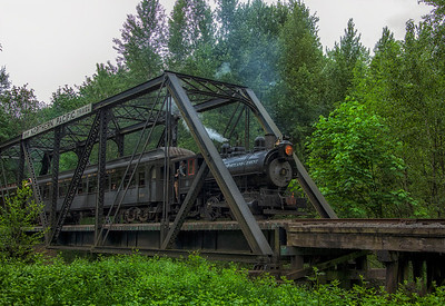 Steam Train Crossing the Trestle