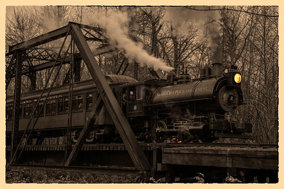 Steam Train Sepia on Bridge