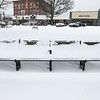 The snow covered Monument Square in Leominster Thursday afternoon. SENTINEL & ENTERPRISE/JOHN LOVE