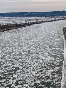 Snow arts, Aerial view of Ice plates on the surface of frozen Missouri River in winter