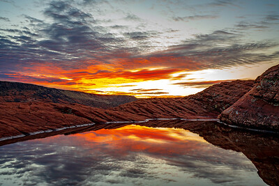 Colors of Sunrise Reflected in Snow Canyon State Park