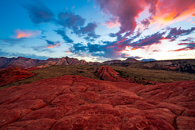 White Rocks, Petrfried Sand Dunes, and Sunrise in Snow Canyon State Park