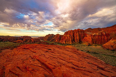 Red Mountain at Sunrise from the Petrfied Sand Dunes in Snow Canyon State Park