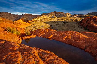 Rising Sun Illuminates the Sandstone of Snow Canyon State Park