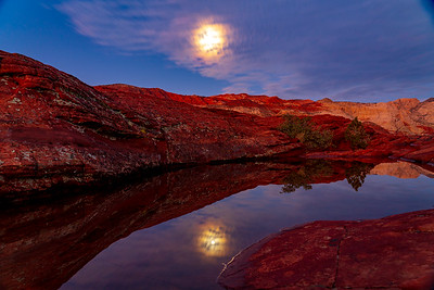 Moon Reflections in Snow Canyon State Park