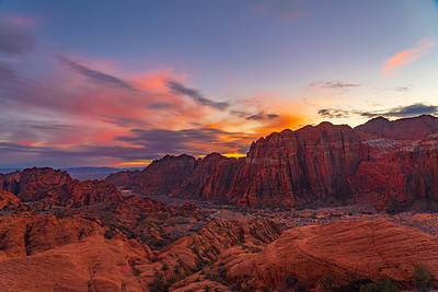 Petrified Dunes and Sunset Over Snow Canyon State Park