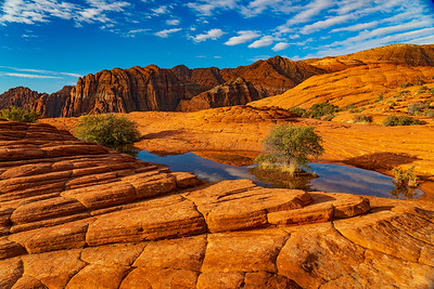 Reflections of Clouds Among the Sandstone of Snow Canyon State Park
