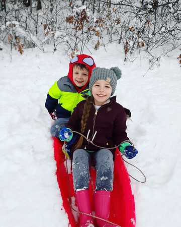 McKinley and Tanner Gordon sledding in Cowden.<br /> Submitted by Brandi Tracy
