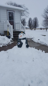 A Green Bay Packers snowman was spotted in Shumway. Submitted by Melissa Lagerhausen of Shumway