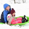 Oliver and Emery sled down Green Creek hill. <br /> Photo by Mom Krista Mette
