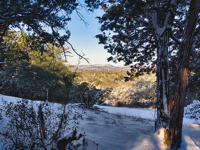 View of snow in the Medina River Valley