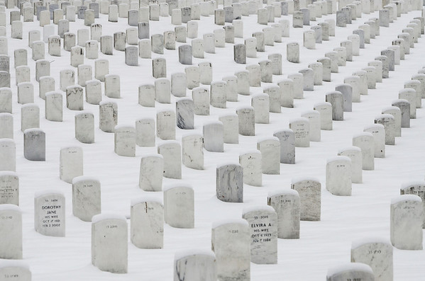 Snow cover at Arlington National Cemetery