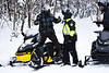 HOLLY PELCZYNSKI - BENNINGTON BANNER Adam Poprocki, of New Haven CT stops to talk to  Bennington Police Chief, Paul Doucette during a routine registration and insurance check stop on Friday morning in Woodford VT.  Doucette and others on the Snow Mobile Task force has increased patrols in Woodford after in influx of 3-4 feet of snow dropped in Woodford after the recent Nor'Easter.