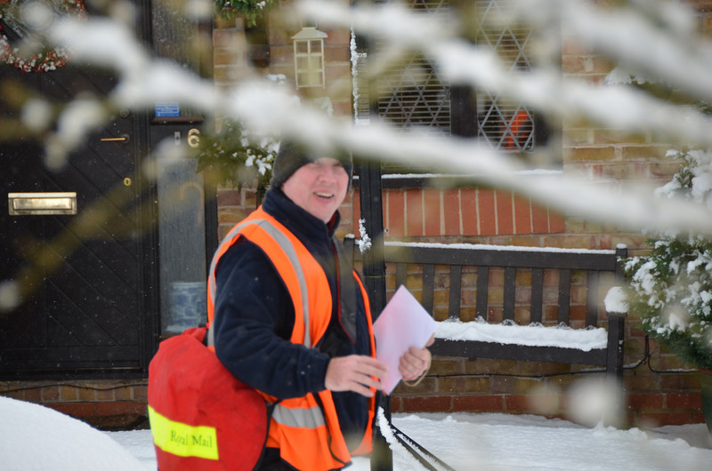 Our postman braved all weathers (and on his bike too!)