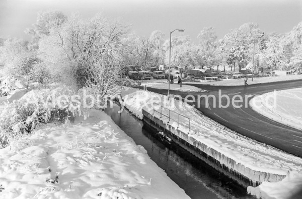 Bear Brook and Station Way viewed from railway footbridge, Dec 1981