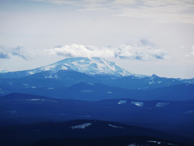 Looking south to Mt. Jefferson; summit shrouded in a cloud.