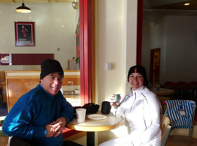 A ritual for Dave and me. Coffee/Espresso and Biscotti at the upper lodge.