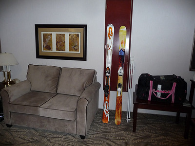 Dave's skis on the left; mine on the right.
