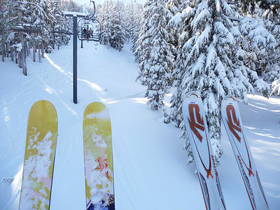 Dave's skis are not rentals (he didn't take the REI tickets off the tips of his skis for the mount)... ::)