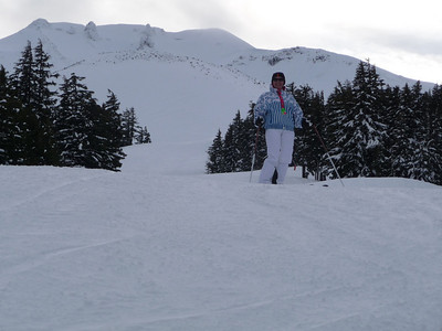 Top of Mt. Bachelor in backdrop.