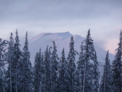 South Sister from the main parking lot after day one on Mt. Bachelor.