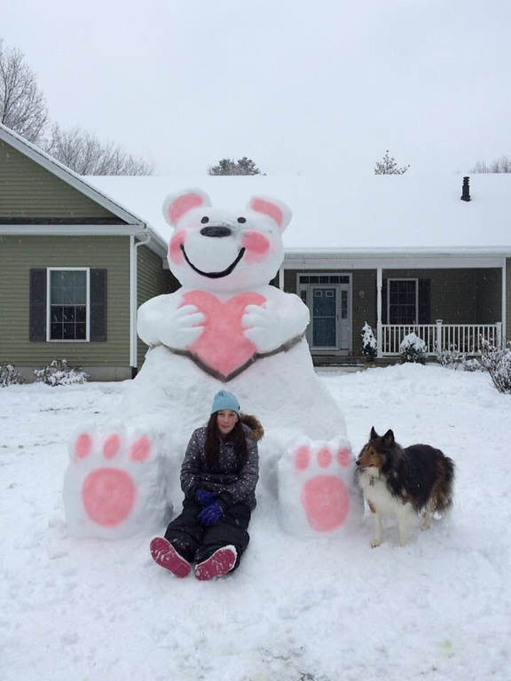 . Pelham Memorial Middle School Art Teacher Randy Coutu and his daughter Maylee created this snow sculpture.