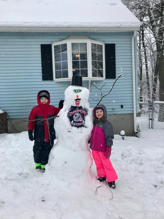. Weston 6 and Cora 4 of Dracut,  love snow days and love the Patriots!
