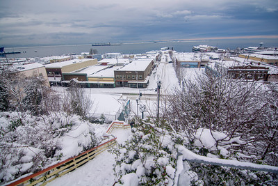 Snow blankets downtown Port Angeles on Wednesday, Jan. 15, 2020. (Jesse Major)