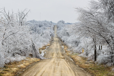 A crippling ice storm brings down large tree limbs along a rural road near Henryetta, OK, on December 22, 2013.