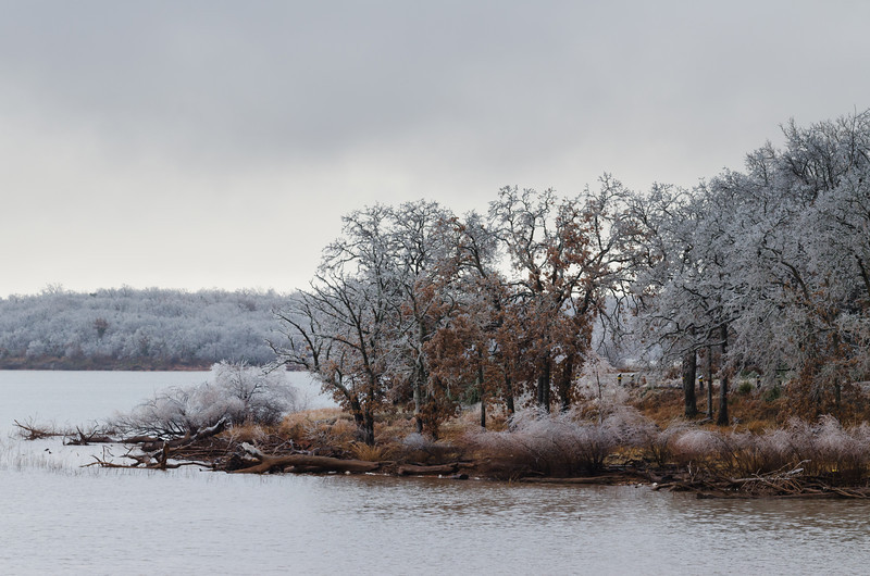 A major ice storm leaves behind a wintry scene at Lake Thunderbird in Norman, OK, on December 21, 2013.
