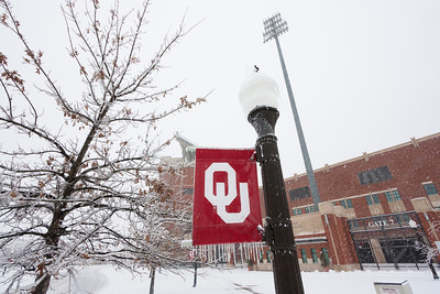 Heavy snowfall blankets Gaylord Memorial Stadium at the University of Oklahoma on January 29, 2010.