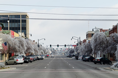 Tree branches droop under the weight of thick ice in downtown Norman, OK, following a major ice storm on December 22, 2013.