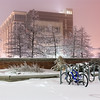 A serene winter scene at the new Engineering building at the University of Oklahoma on January 30, 2010.