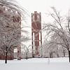 Heavy snow blankets the University of Oklahoma campus on January 29, 2010.