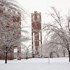 Heavy snow blankets the University of Oklahoma campus on January 29, 2010.